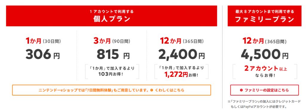 Nintendo Switch Onlineの課金プラン